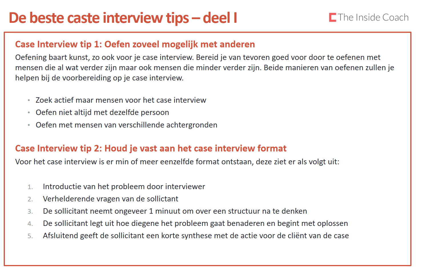 case interview tips selectie van de 10 beste case interview tips the inside coach deel1