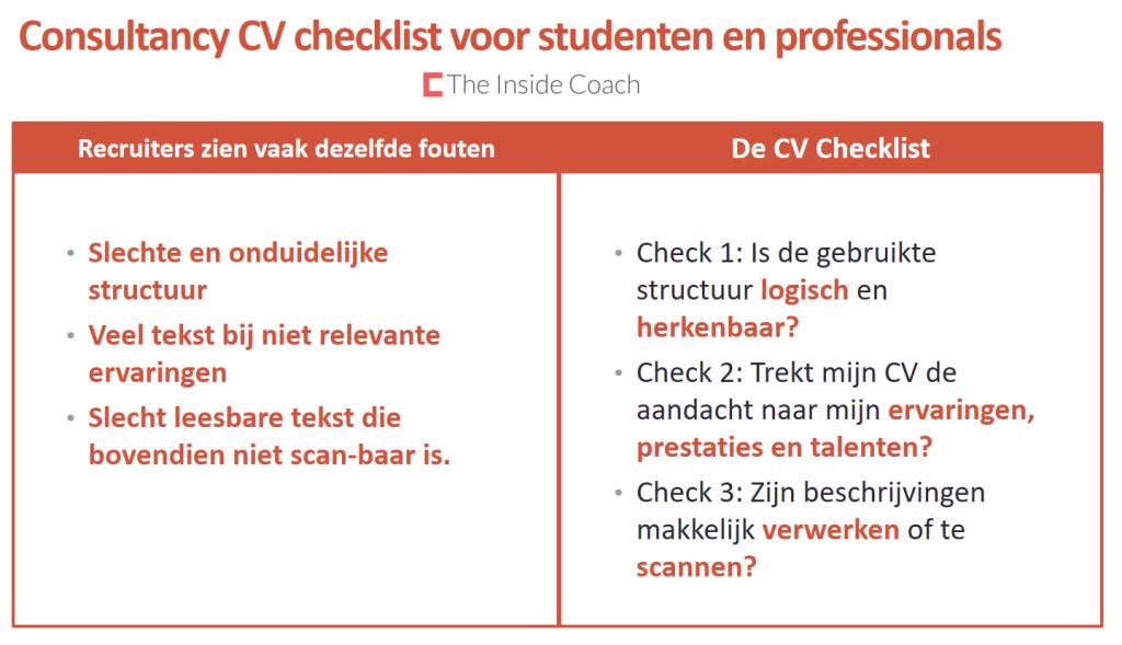 consultancy CV checklist en veel voorkomende fouten strategie consultancy