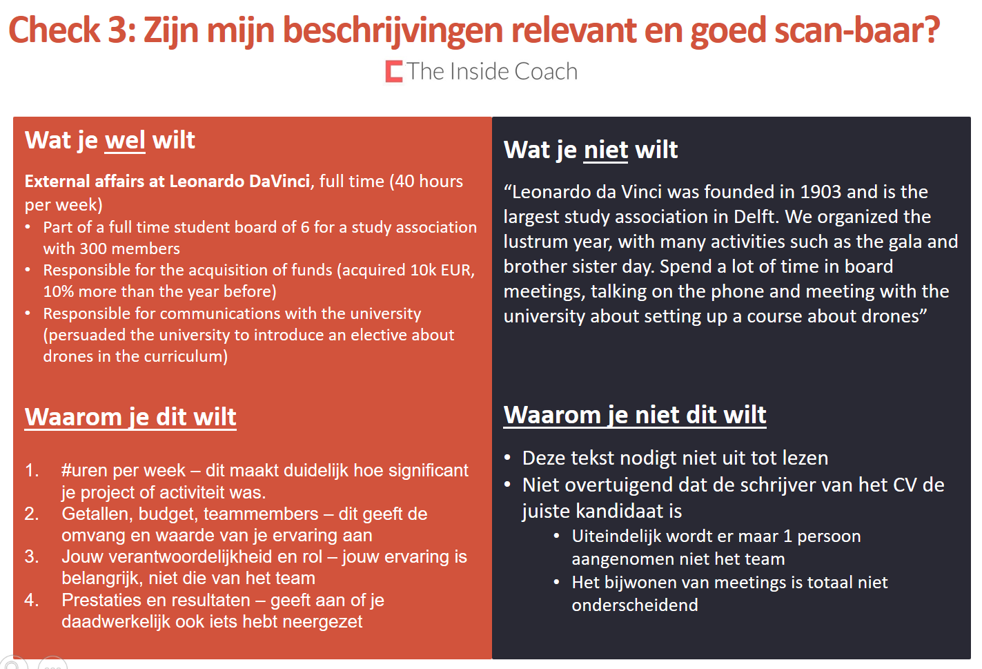 consultancy cv checklist voor studenten en professionals  u2013 the inside coach