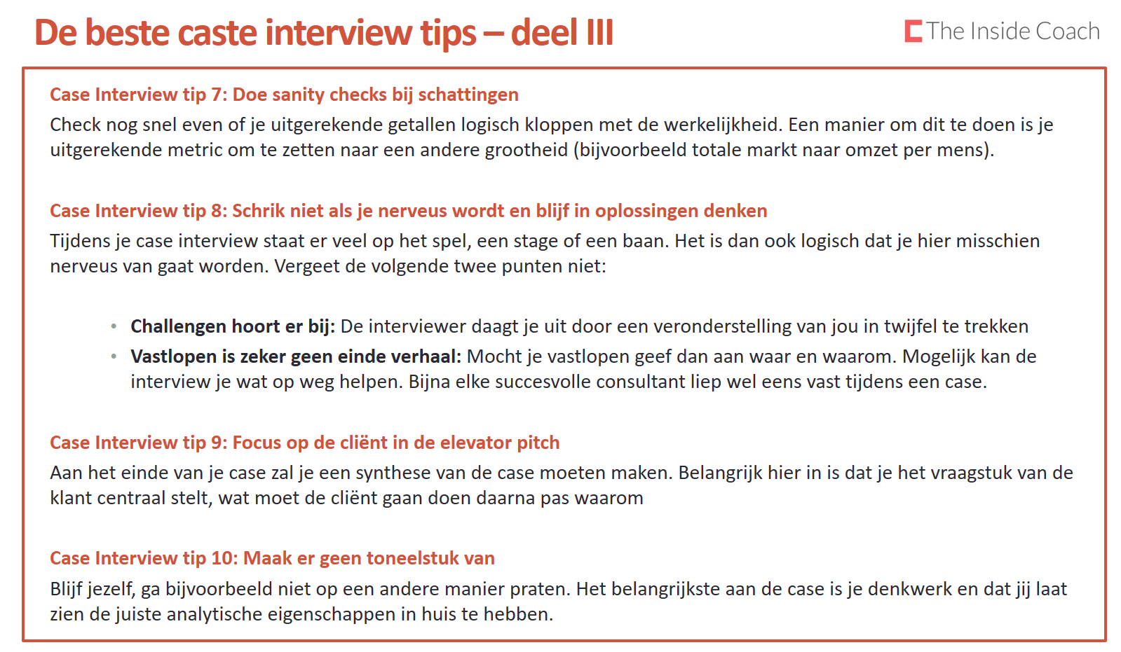 de beste case interview tips deel the inside coach case interview tip 7 doe sanity checks bij schattingen