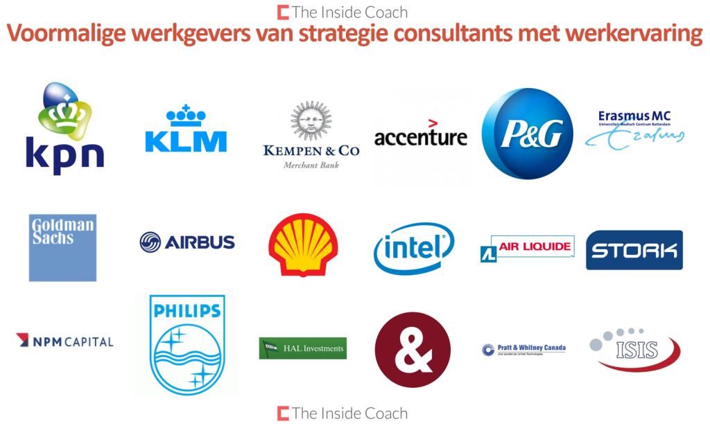 voormalige werkgevers van strategie consultants met werkervaring - the Inside Coach